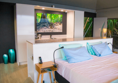 Inside an eco-chalet at Swell Lodge